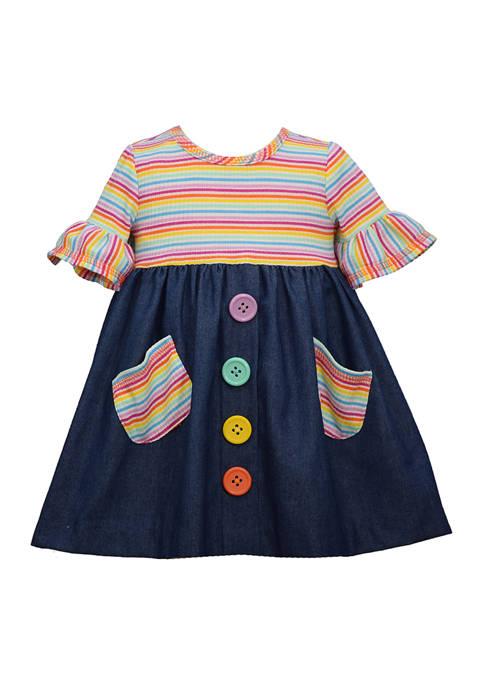 Bonnie Jean Girls 4-6x Rainbow Button Dress