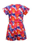 Girls 4-6x Short Sleeve Tie Dye Floral Romper