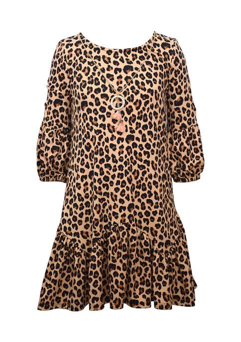 Girls 4-6x Animal Print Knit Dress