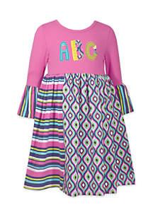 Girls 4-6x ABC Mixed Media Babydoll Dress