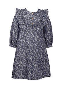 Girls 4-6x Printed Denim Dress with Yoke