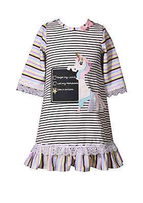 bf2b0fc6ce1 Bonnie Jean Girls 4-6x Striped Unicorn Dress ...