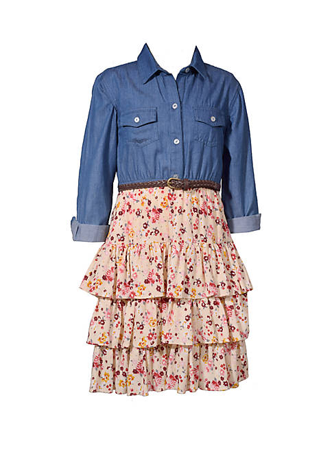 Bonnie Jean Girls 4-6x Chambray To Crepe Skirt