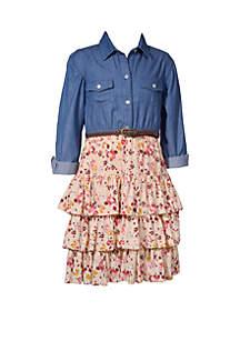 Bonnie Jean Girls 4-6x Chambray To Crepe Skirt Dress