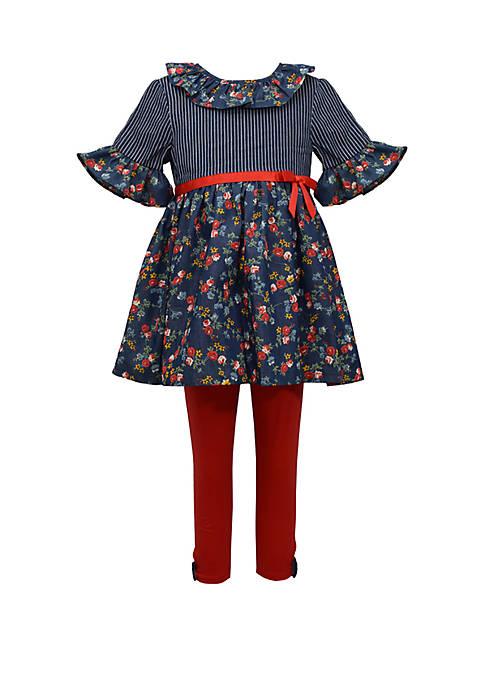 Bonnie Jean Girls 4-6x Navy Floral Legging Set