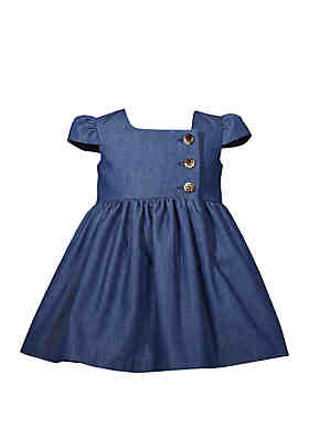 4d4f293cf17b1 Bonnie Jean Toddler Girls Denim Dress with Buttons ...