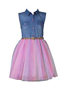 Bonnie Jean Girls 7-16 Sleeveless Denim Tulle Dress with Cheetah Belt