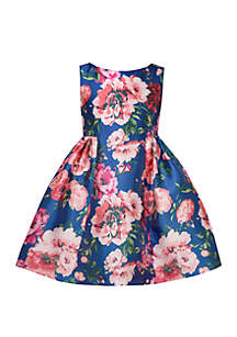 Bonnie Jean Girls 7-16 Blue Printed Mikado Skater Dress