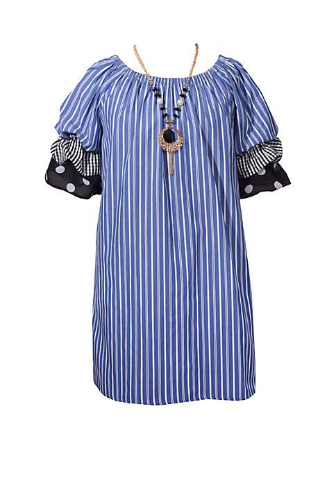 Bonnie Jean Girls 7-16 Stripe Triple Tiered Sleeve