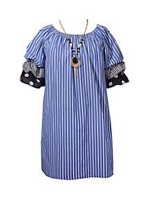 Bonnie Jean Girls 7-16 Stripe Triple Tiered Sleeve Shift Dress