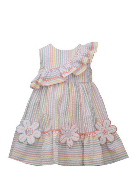 Girls 4-6x Sleeveless Multi Stripe Seersucker Asymmetrical Dress