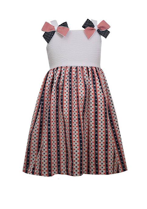 Bonnie Jean Girls 4-6x Sleeveless Americana Wallpaper Print