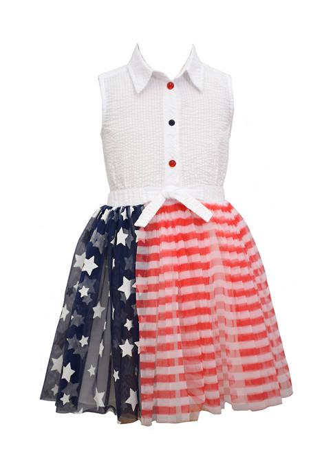 Bonnie Jean Girls 4-6x American Flag Tulle Dress