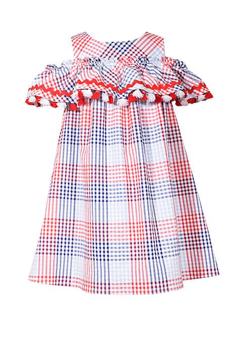 Girls 4-6 Cold Shoulder Seersucker Dress with Pompoms