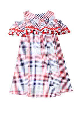 Girls' Clothing (newborn-5t) Bonnie Jean Green Striped Seersucker Dress 4t