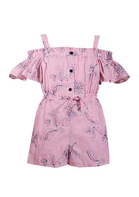 Bonnie Jean Girls 4-6 Off Shoulder Embroidered Romper