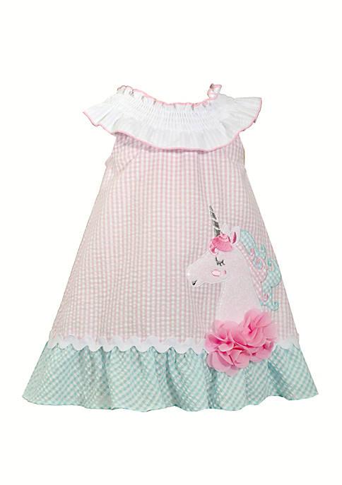 Girls 4-6x Unicorn Seersucker Dress