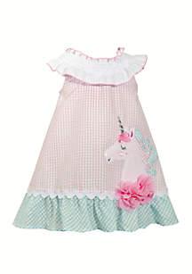 Bonnie Jean Girls 4-6x Unicorn Seersucker Dress