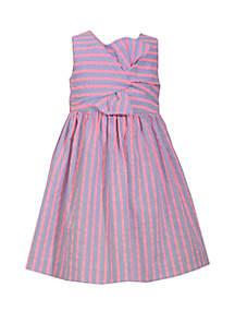 Bonnie Jean Girls 4-6x Neon Striped Twisty Tie Front Dress