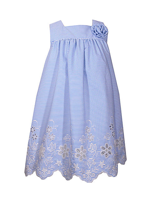 Bonnie Jean Girls 4-6x Square Neck Embroidered Flower
