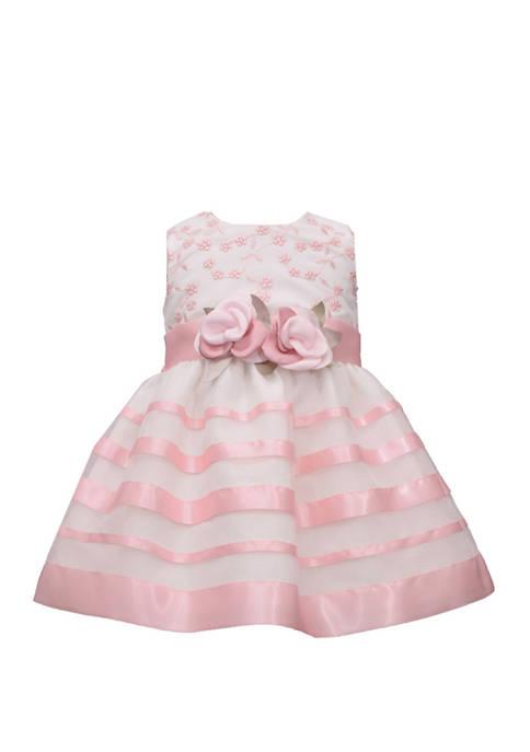 Bonnie Jean Girls 4-6x Floral Stripe Dress