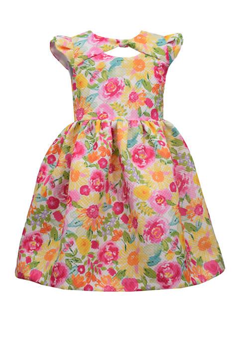 Bonnie Jean Girls 4-6x Floral Bow Neck Hat