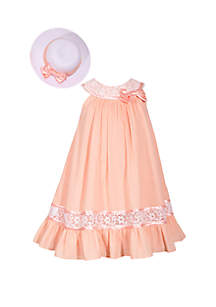Bonnie Jean Girls 4-6x Peach Clip Dot Trapeze Hat Dress