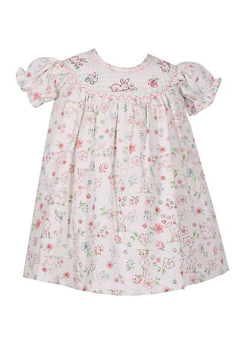 Girls 4-6x Smocked Bunny Dress