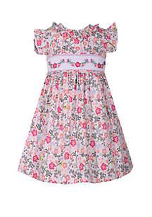 Girls 4-6x Floral Smocked Dress