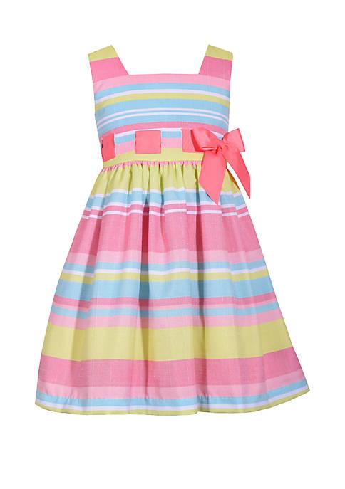 Girls 4-6x Linen Stripe Pull Thru Dress