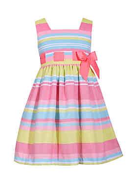 10981427c9a Bonnie Jean Girls 4-6x Linen Stripe Pull Thru Dress ...