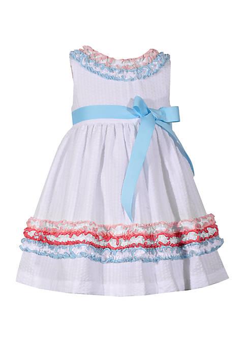 Bonnie Jean Girls 4-6x Multi Color Ruching White