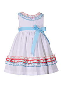 Bonnie Jean Girls 4-6x Multi Color Ruching White Seersucker Dress