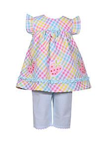 Bonnie Jean Girls 4-6x Strawberry Seersucker Capri Set