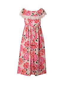 Girls 4-6x Pink Floral Walk Thru Dress