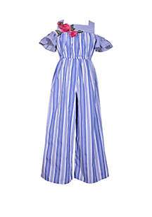 GIrls 4-6x Blue and White Stripe Floral Embroidered Jumpsuit