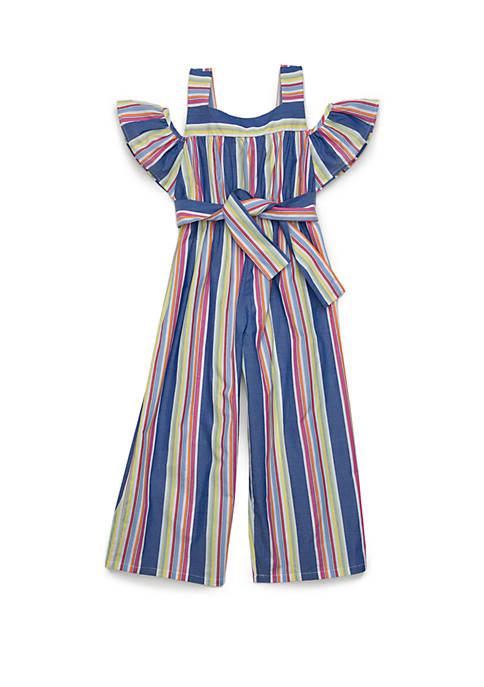 Bonnie Jean Girls 4-6x Multi Color Stripe Jumpsuit