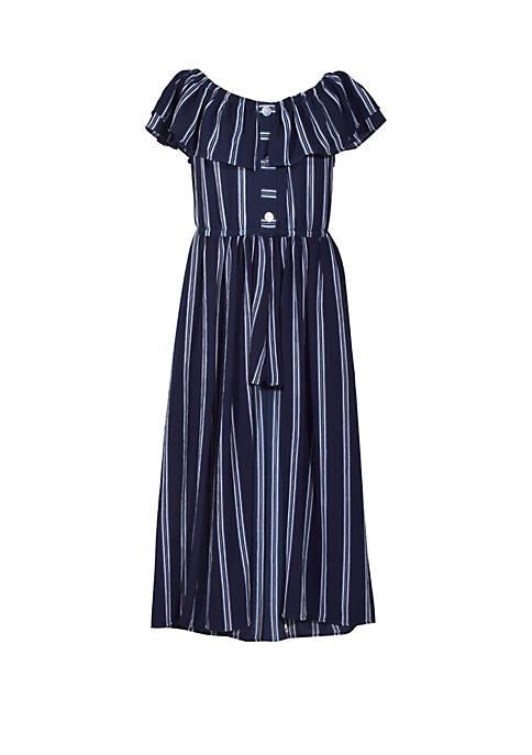 Bonnie Jean Girls 4-6x Navy Stripe Crepe Walk