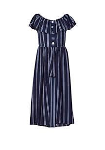 Bonnie Jean Girls 4-6x Navy Stripe Crepe Walk Thru Dress