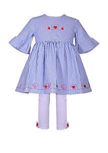 Bonnie Jean Girls 4-6x Bell Sleeve Stripe Heart Legging Set