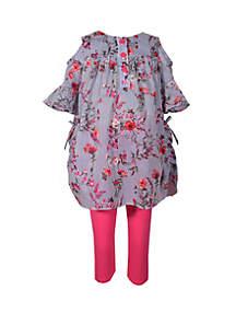 874ccf7667f Bonnie Jean Toddler Girls Clip Dot Floral Hat and Dress Set · Bonnie Jean  Girls 4-6x Side Sheer Floral Capri Set