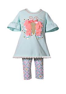 Bonnie Jean Girls 4-6x 3D Butterfly Floral Capri Set