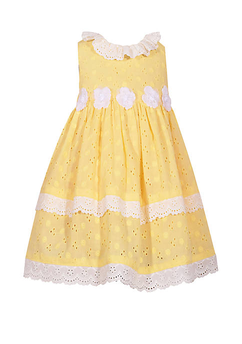 Bonnie Jean Girls 4-6x Yellow Eyelet with Flowers