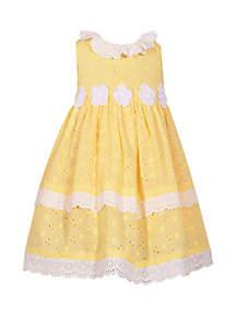 Bonnie Jean Girls 4-6x Yellow Eyelet with Flowers Dress