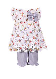 Bonnie Jean Girls 4-6x Floral Eyelet Lace Capri Set