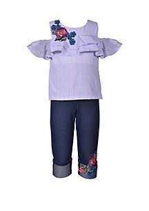 Bonnie Jean Girls 4-6x Cold Shoulder Stripe Floral Capri Set