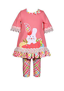 ... Bonnie Jean Girls 4-6x Coral Plaid Easter Bunny Carrot Set