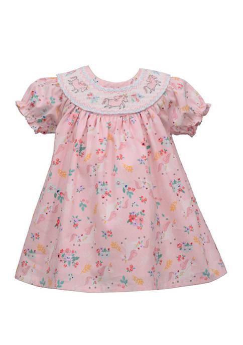 Bonnie Jean Girls 4-6x Smocked Neck Unicorn Dress