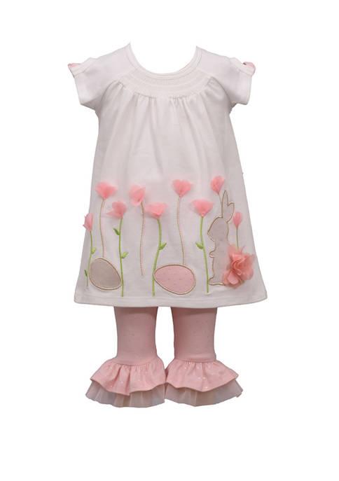 Bonnie Jean Girls 4-6x Bunny Flower Legging Set