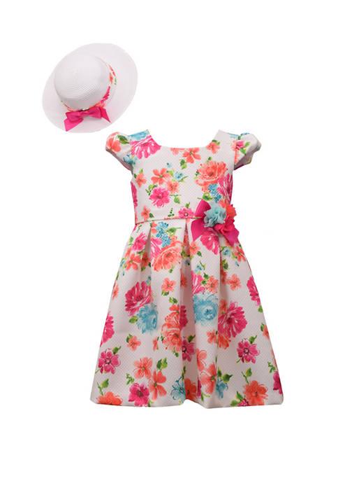 Bonnie Jean Girls 4-6x Floral Hat Dress